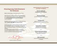 Hirschsprung Valentinsmenue